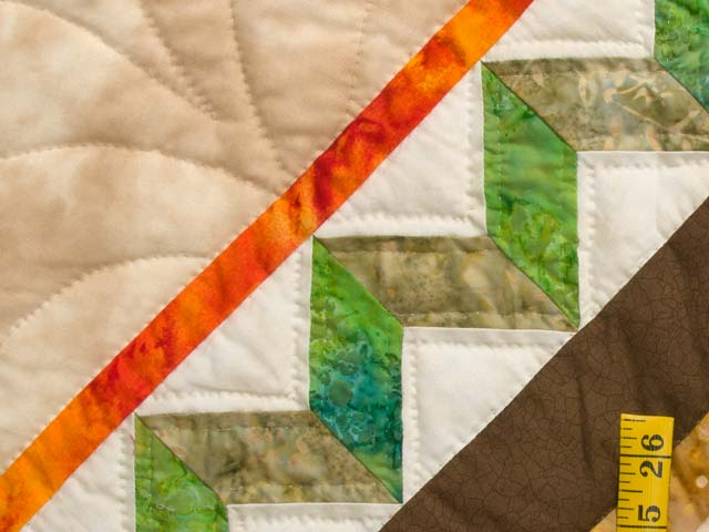 Gold Tan Green and Auburn Flowering Hearts Quilt Photo 5