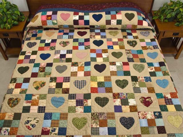 King Burgundy Blue and Multi Hearts and Nine Patch Quilt Photo 1