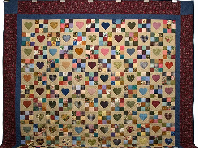 King Burgundy Blue and Multi Hearts and Nine Patch Quilt Photo 2