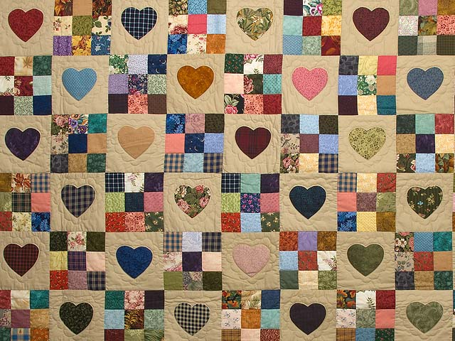 King Burgundy Blue and Multi Hearts and Nine Patch Quilt Photo 3