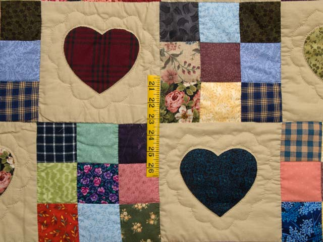 King Burgundy Blue and Multi Hearts and Nine Patch Quilt Photo 4