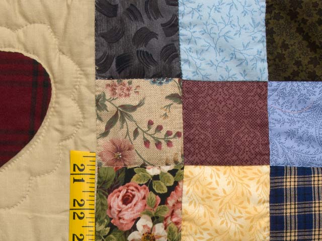 King Burgundy Blue and Multi Hearts and Nine Patch Quilt Photo 5