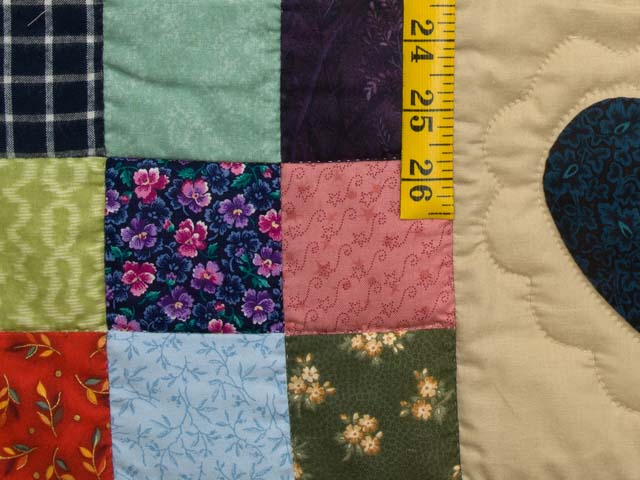 King Burgundy Blue and Multi Hearts and Nine Patch Quilt Photo 6