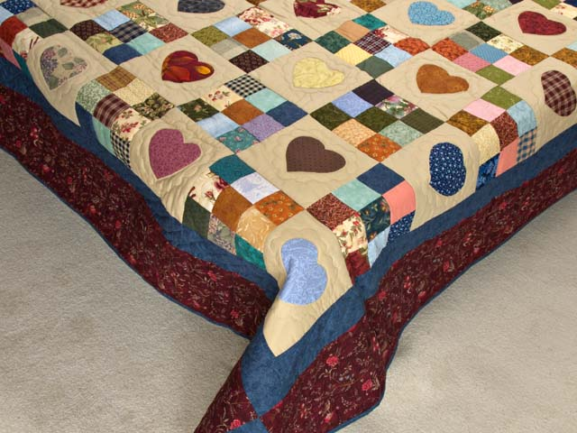 King Burgundy Blue and Multi Hearts and Nine Patch Quilt Photo 7