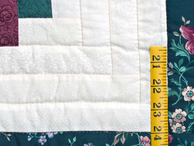Plum Rose and Green Log Cabin Star Quilt Photo 6