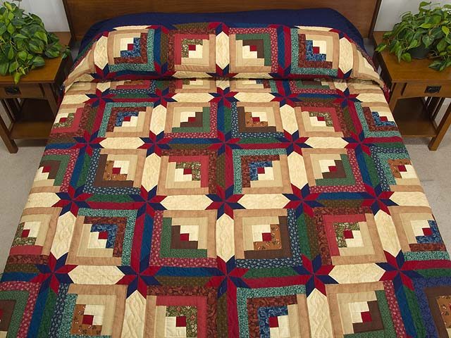 Navy Blue Burgundy and Green Colorado Log Cabin Quilt Photo 1