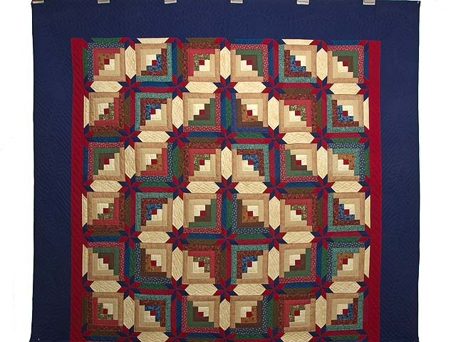 Navy Blue Burgundy and Green Colorado Log Cabin Quilt Photo 2