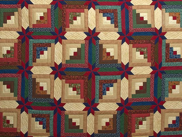 Navy Blue Burgundy and Green Colorado Log Cabin Quilt Photo 3