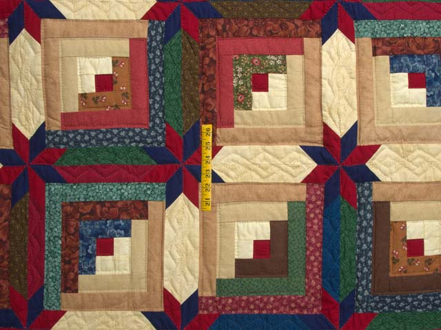 Navy Blue Burgundy and Green Colorado Log Cabin Quilt Photo 4