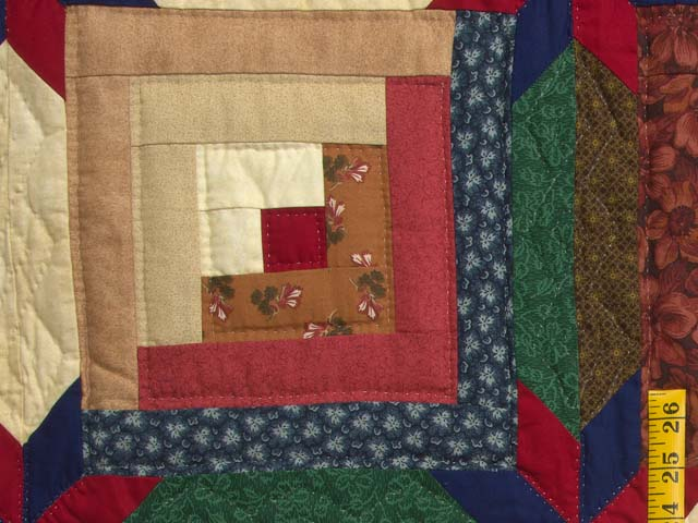Navy Blue Burgundy and Green Colorado Log Cabin Quilt Photo 5