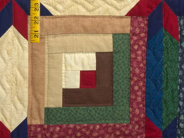 Navy Blue Burgundy and Green Colorado Log Cabin Quilt Photo 6
