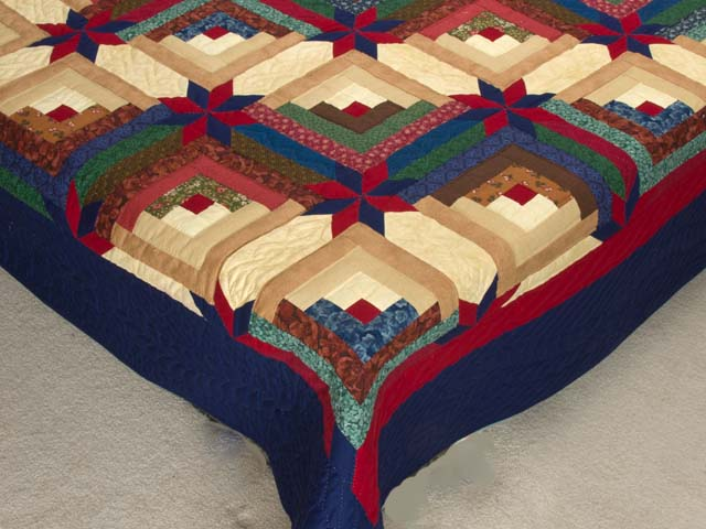 Navy Blue Burgundy and Green Colorado Log Cabin Quilt Photo 7