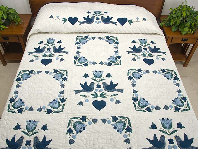 Navy Blue and Cream Love Dove Quilt Photo 1