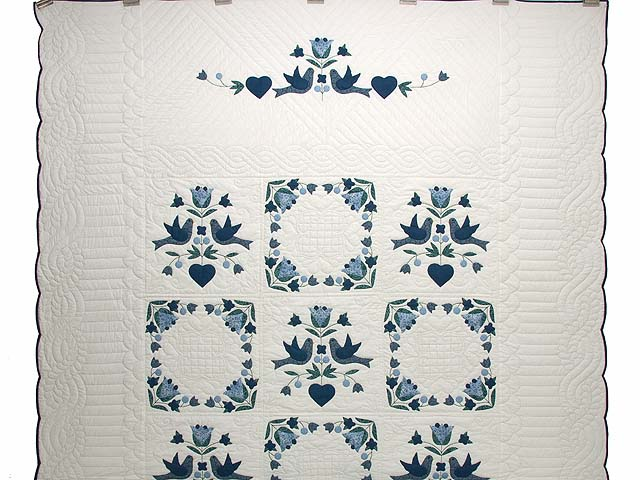 Navy Blue and Cream Love Dove Quilt Photo 2