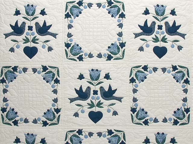 Navy Blue and Cream Love Dove Quilt Photo 3