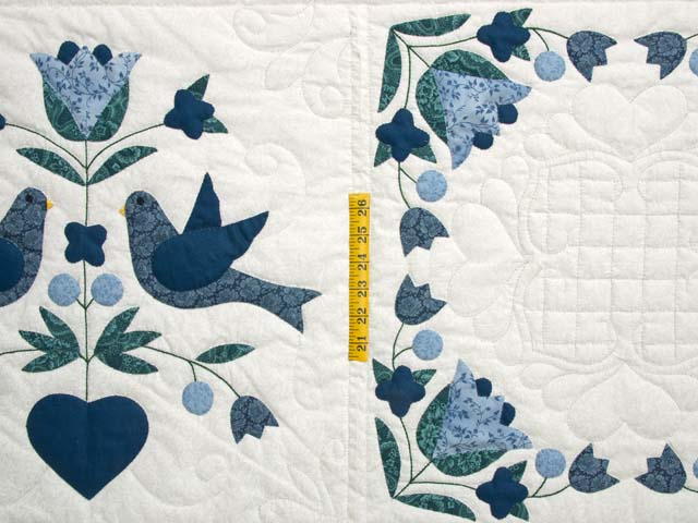 Navy Blue and Cream Love Dove Quilt Photo 4