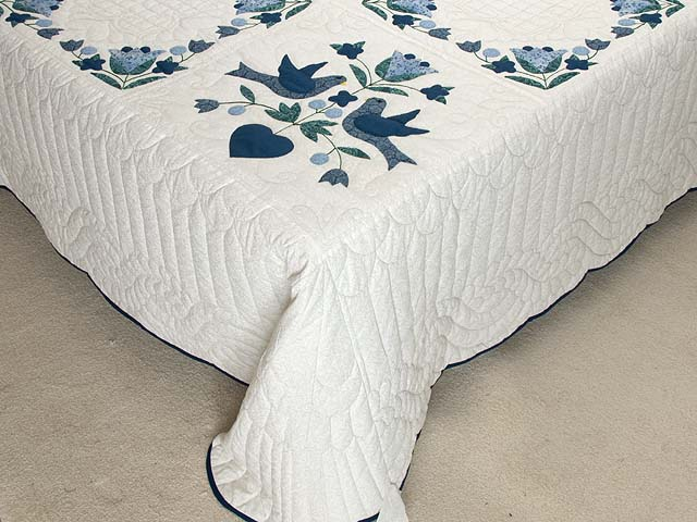 Navy Blue and Cream Love Dove Quilt Photo 7