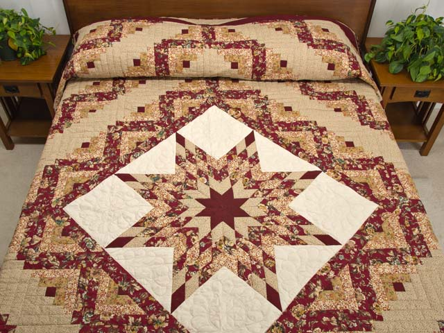 Red and Golden Tan Lone Star Log Cabin Quilt Photo 1