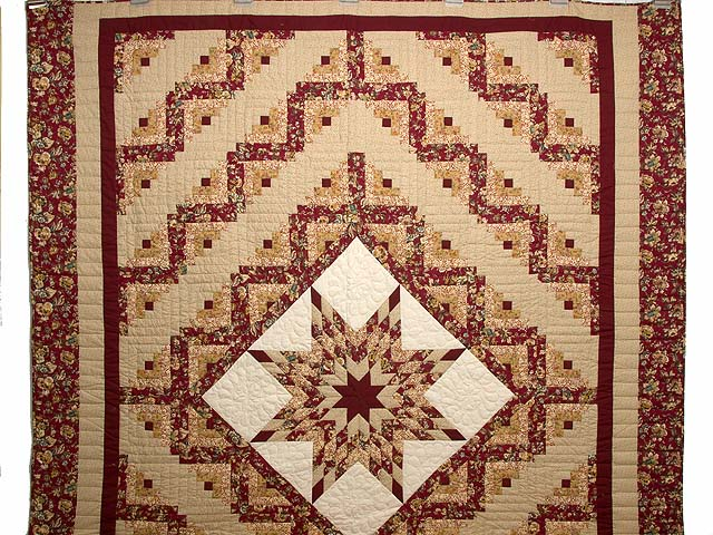 Red and Golden Tan Lone Star Log Cabin Quilt Photo 2