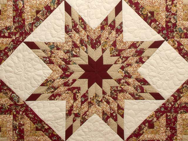 Red and Golden Tan Lone Star Log Cabin Quilt Photo 3