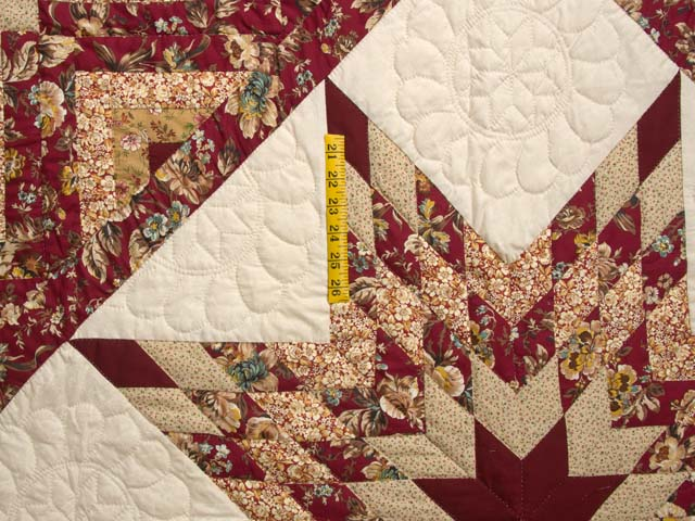 Red and Golden Tan Lone Star Log Cabin Quilt Photo 4