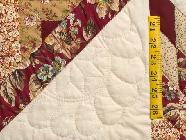 Red and Golden Tan Lone Star Log Cabin Quilt Photo 5