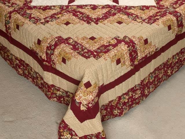 Red and Golden Tan Lone Star Log Cabin Quilt Photo 7