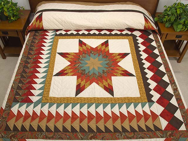 King Red Teal and Gold Star Quest Quilt Photo 1
