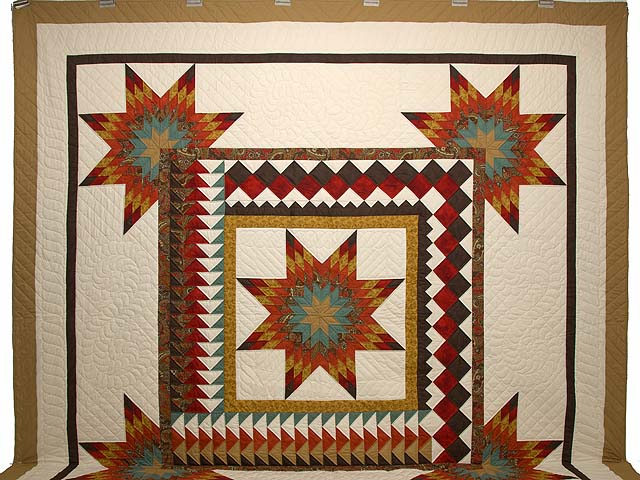 King Red Teal and Gold Star Quest Quilt Photo 2