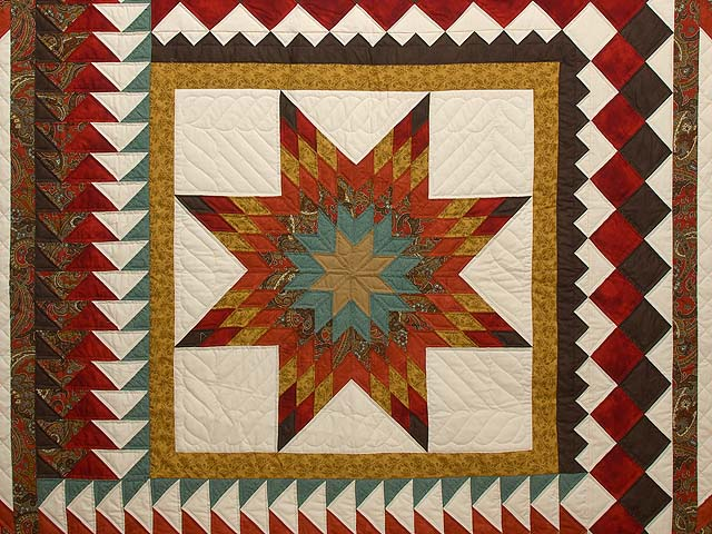 King Red Teal and Gold Star Quest Quilt Photo 3