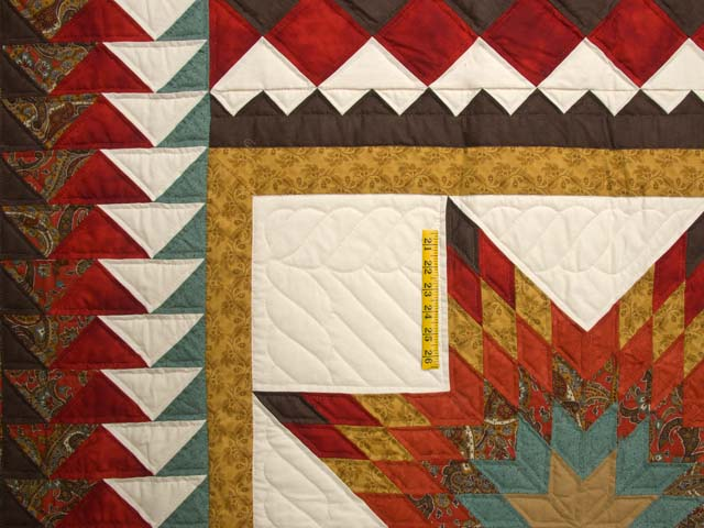King Red Teal and Gold Star Quest Quilt Photo 4