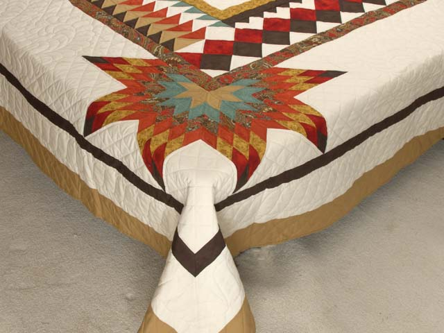 King Red Teal and Gold Star Quest Quilt Photo 7