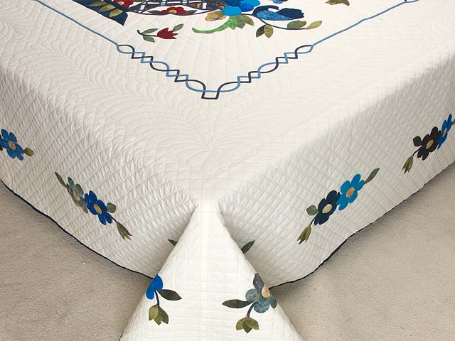 King Blue Daisy Quilt Photo 7