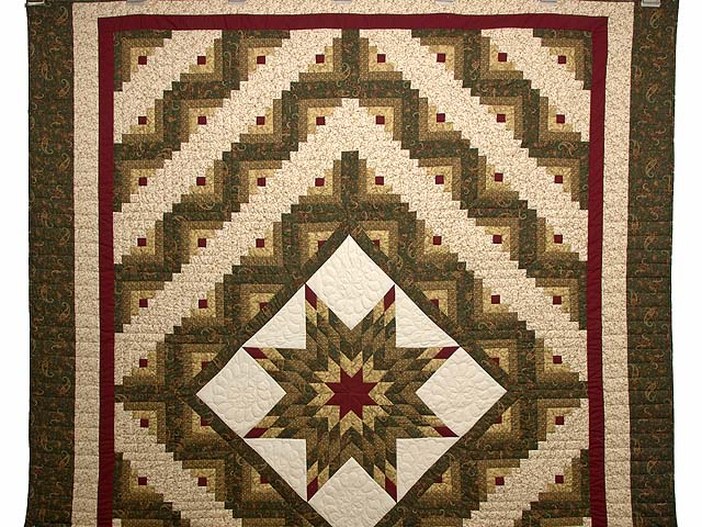Earthtones Lone Star Log Cabin Quilt Photo 2