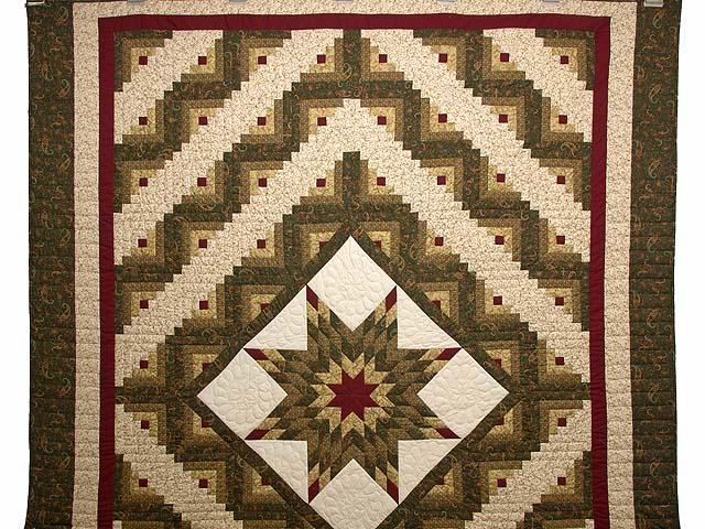 Lone Star Log Cabin Quilt -- wonderful carefully made Amish Quilts ... : lone star log cabin quilt pattern - Adamdwight.com
