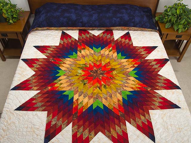 Navy Blue and Multicolor Radiant Star Quilt Photo 1