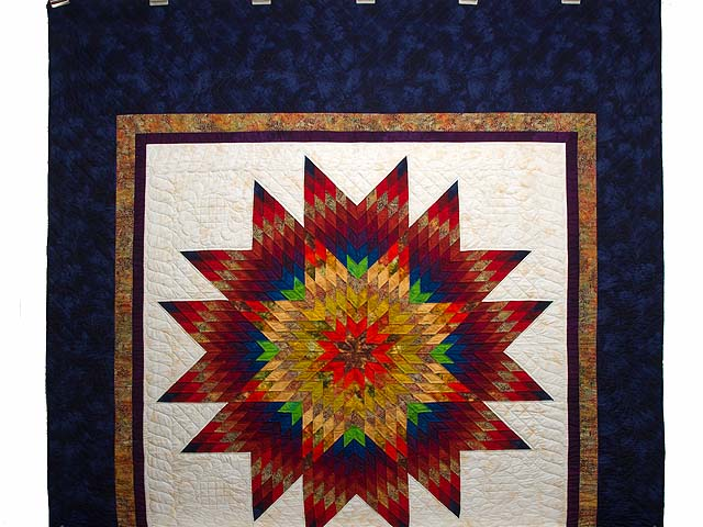 Navy Blue and Multicolor Radiant Star Quilt Photo 2