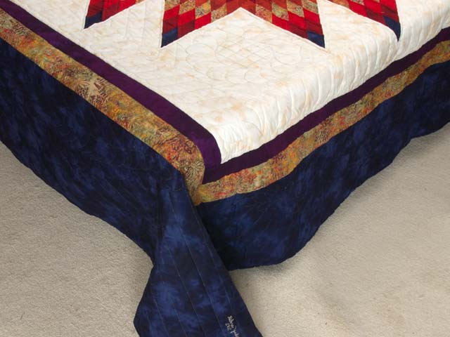 Navy Blue and Multicolor Radiant Star Quilt Photo 7