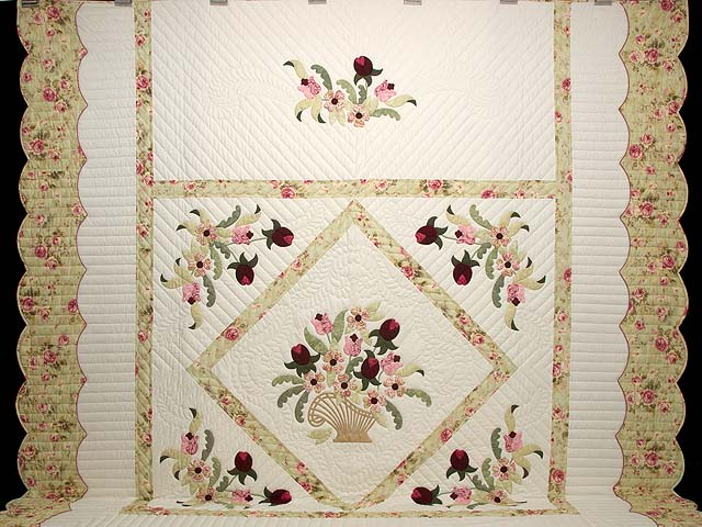 King Sea-foam Green and Rose Spring Basket Quilt Photo 2