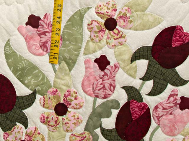 King Sea-foam Green and Rose Spring Basket Quilt Photo 5
