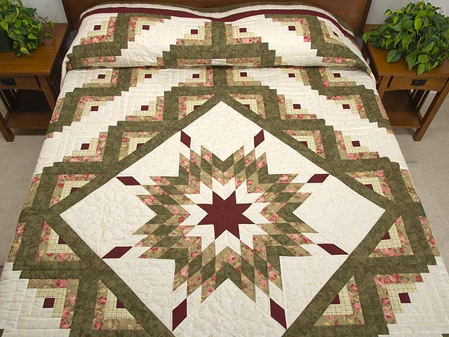 Moss Green and Burgundy Lone Star Log Cabin Quilt Photo 1