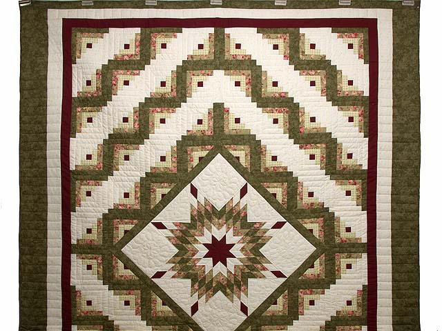 Moss Green and Burgundy Lone Star Log Cabin Quilt Photo 2