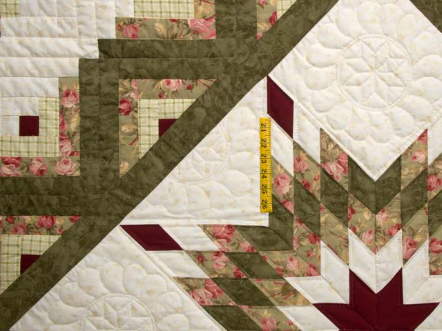 Moss Green and Burgundy Lone Star Log Cabin Quilt Photo 4