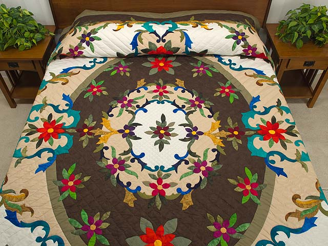 Moss Brown and Multicolor Regal Rose Quilt Photo 1