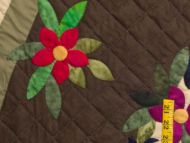 Moss Brown and Multicolor Regal Rose Quilt Photo 6