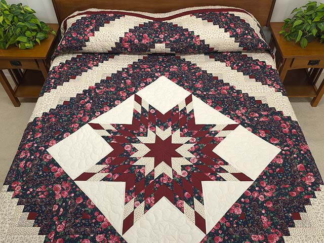 Rose Burgundy and Navy Lone Star Log Cabin Quilt Photo 1