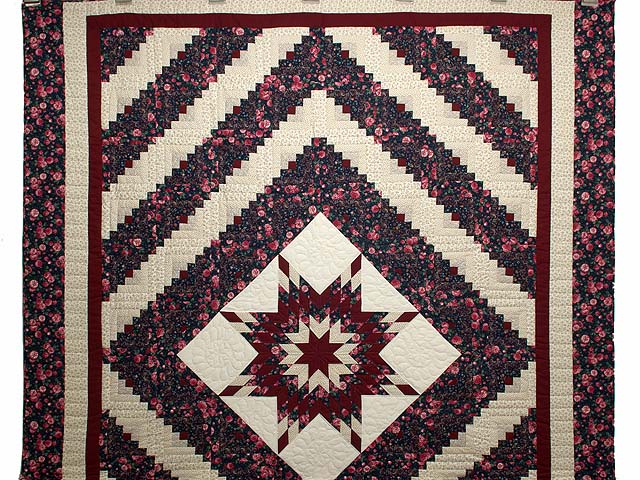 Rose Burgundy and Navy Lone Star Log Cabin Quilt Photo 2