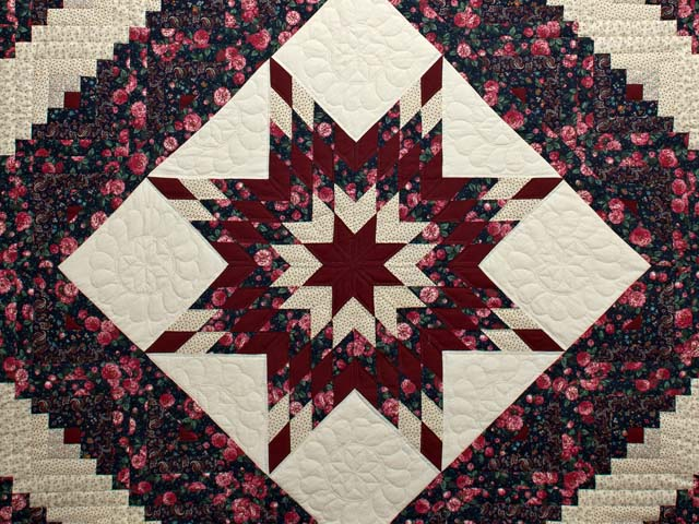 Rose Burgundy and Navy Lone Star Log Cabin Quilt Photo 3