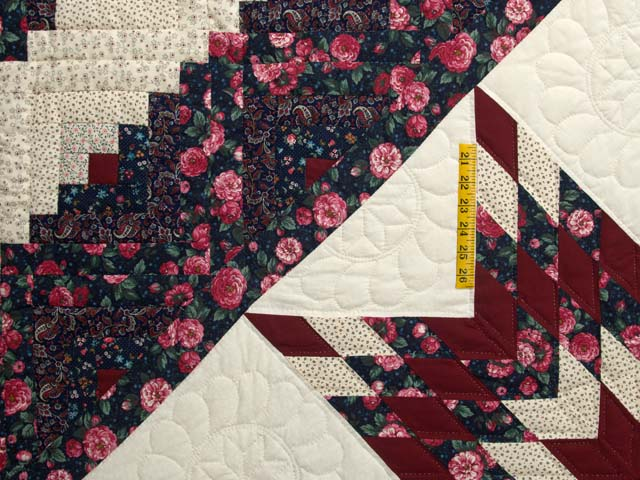 Rose Burgundy and Navy Lone Star Log Cabin Quilt Photo 4