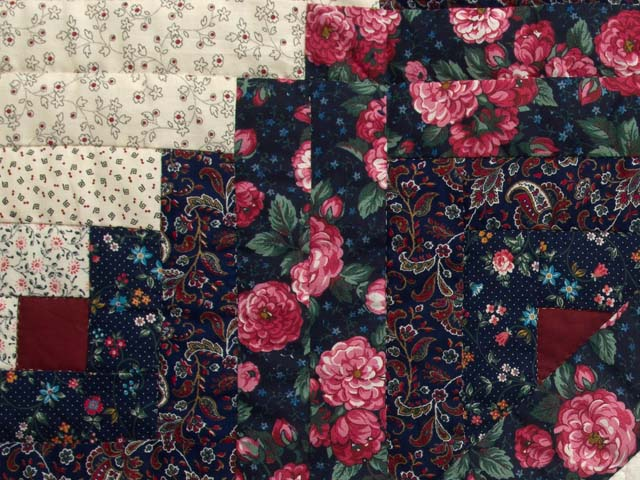Rose Burgundy and Navy Lone Star Log Cabin Quilt Photo 6